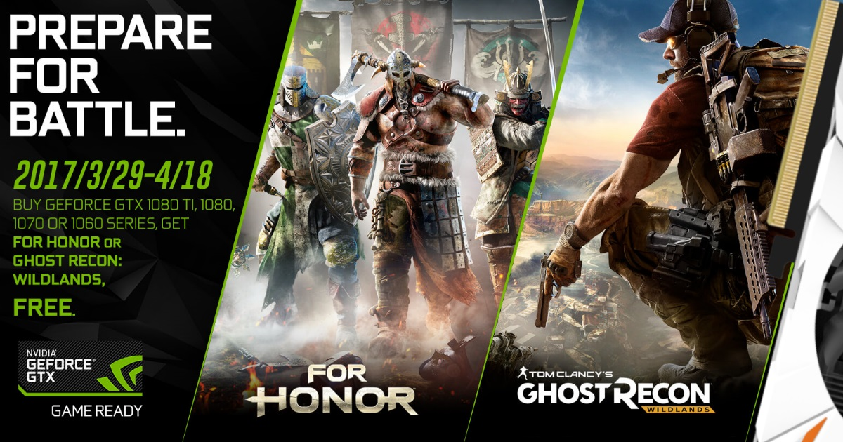 GGPC Wildlands For Honor Nvidia GTX 1060 1070 1080 ti Free Game You Choose Bonus